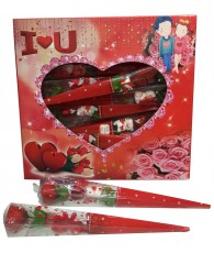 PRES 12 MINI CORNET ROSE SAINT VALENTIN
