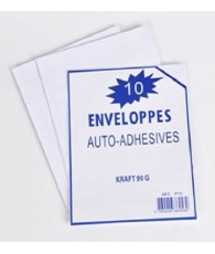 SACHET 10  ENVELOPPES ADHESIVES KRAFT162X229M C500