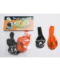 SACHET 6 BALLONS HALOWEEN NOIR/ORANGE  C240
