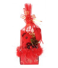 BOITE OURS FILET ROUGE ROSE 27CM